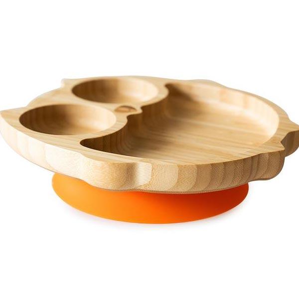 piatto svezzamento civetta arancio