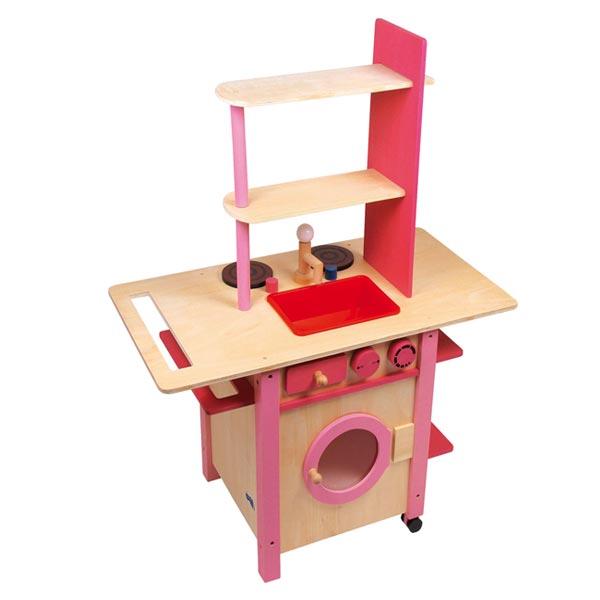 cucina in legno per bambini-rosa