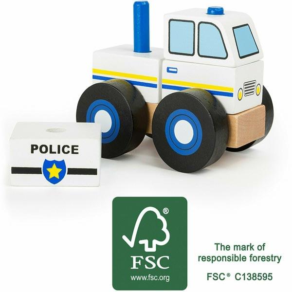 macchina polizia in legno